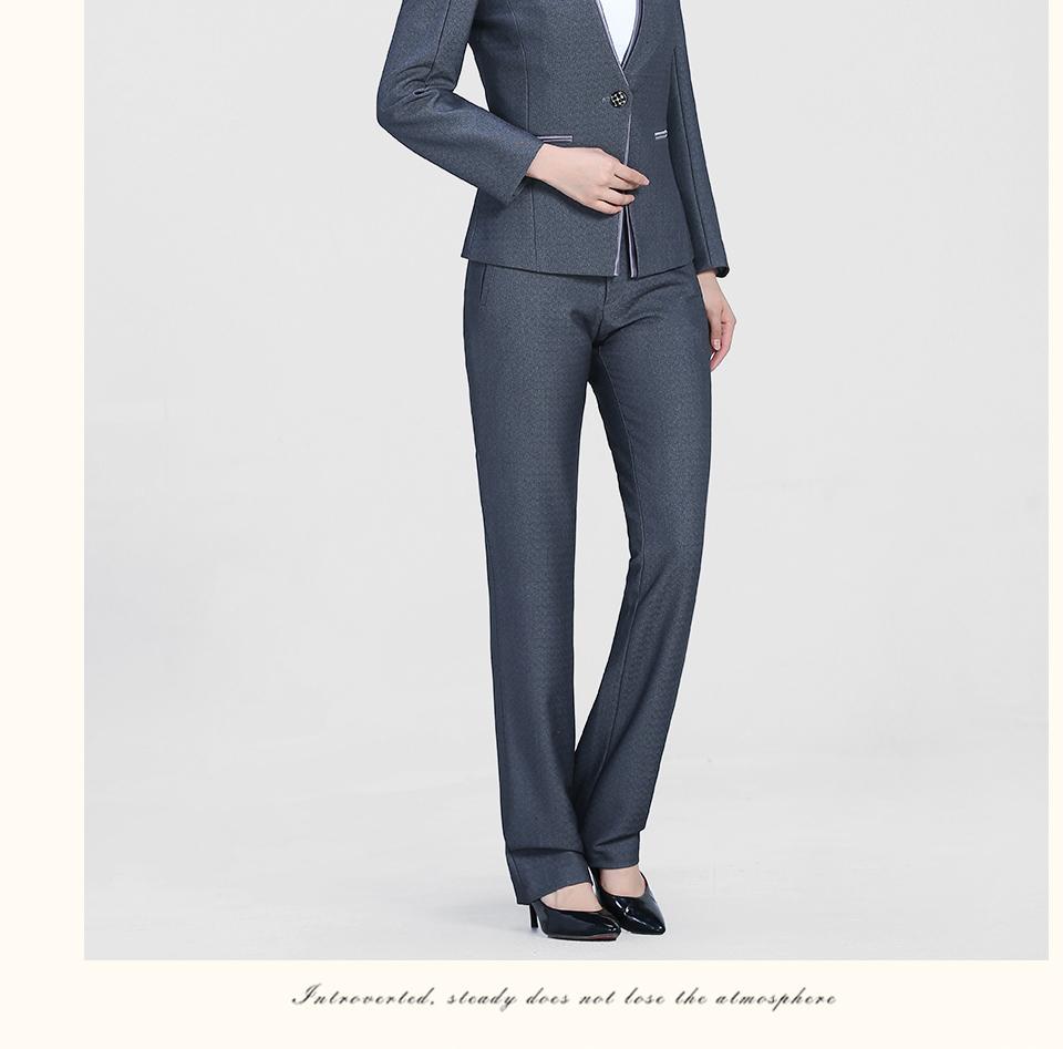 中灰色时尚一粒扣职业装