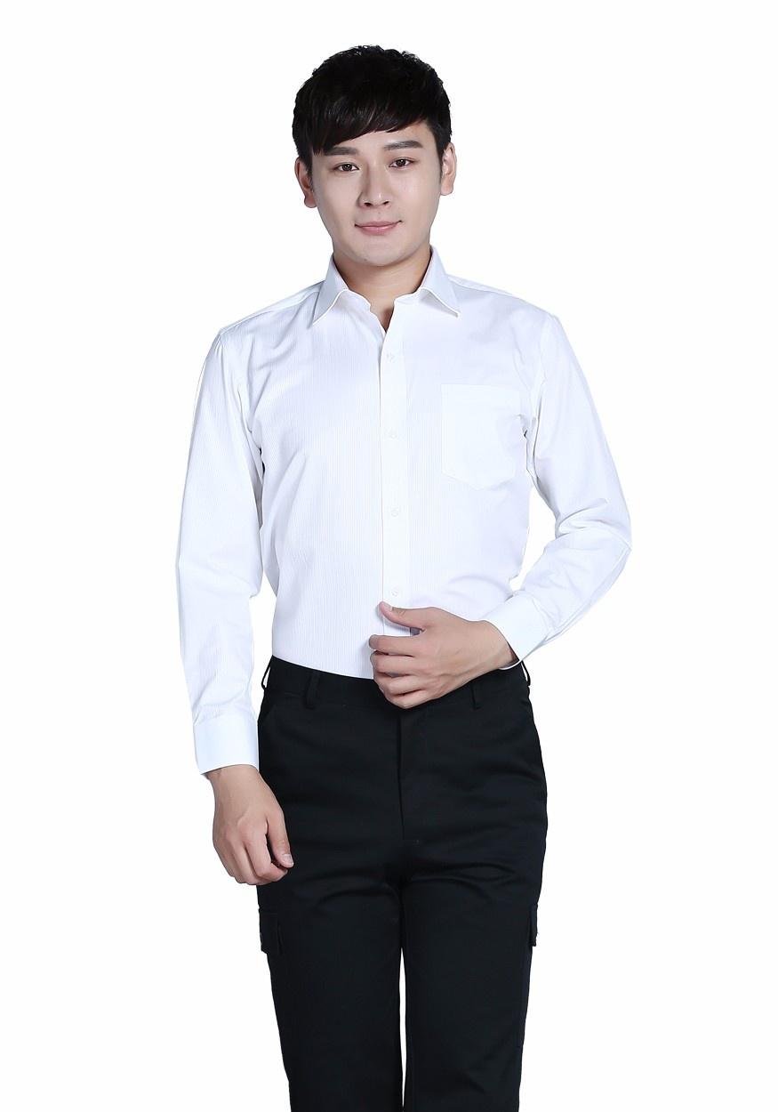 衬衫白色男白色商务V领长袖衬衫