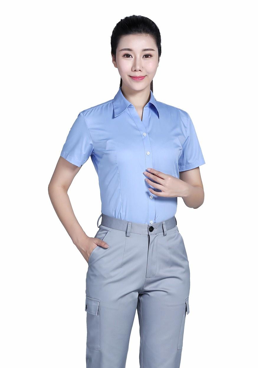 衬衫湖蓝女全棉蓝色V领短袖衬衫