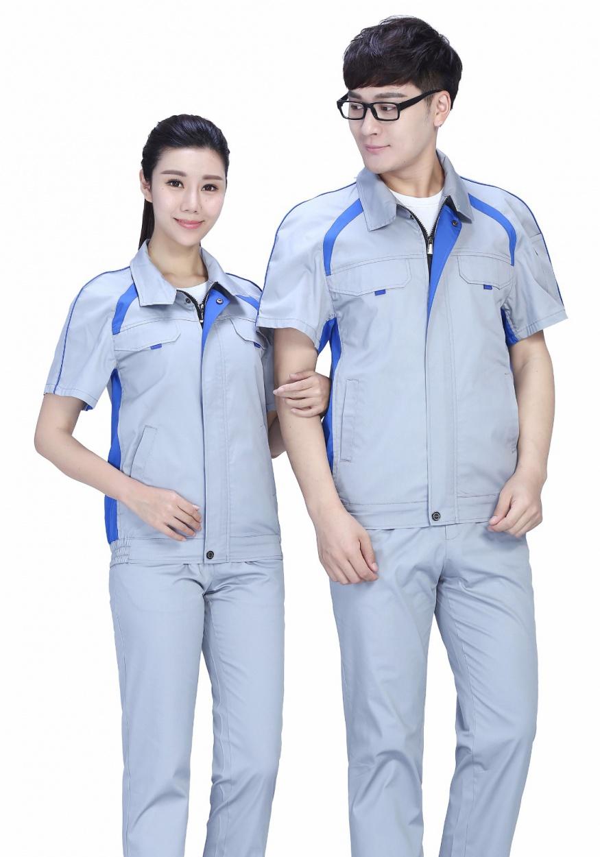 时尚银灰色夏季涤棉细纹短袖工作服FY635